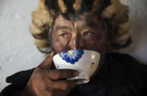 Mongolia, Kazakh man drinking salted tea