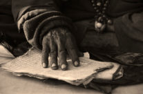 Tibetan monk reading
