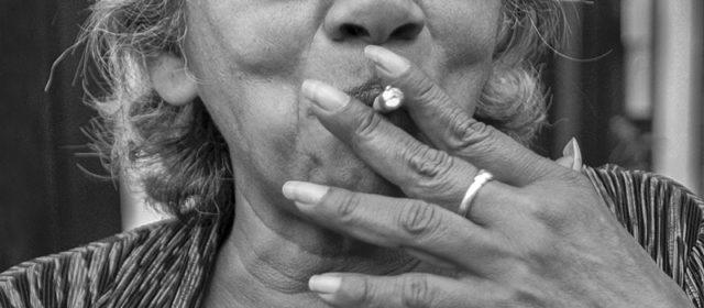 Sunnita smoking a lady's cigar